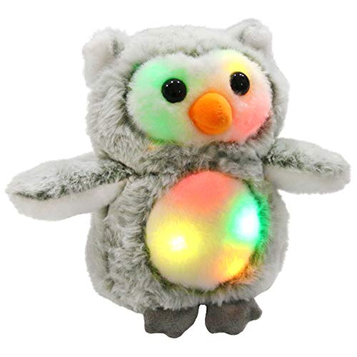 Bstaofy LED Snowy Owl Stuffed Animal Glow Owlet Plush Toy Nightlight Bedtime Companion Gift for Toddlers Kids on Christmas Birthday, 8 Inches (Owl Christmas Stuffed Animal)