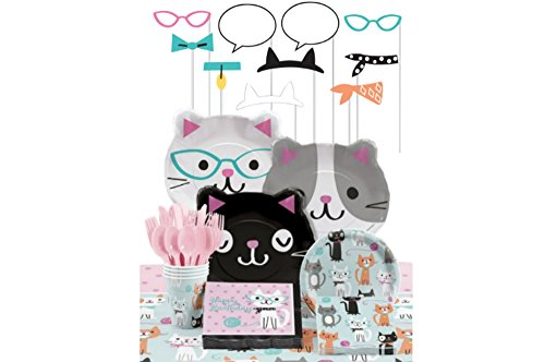 Party Supplies Kit for 8 Guests: Bundle Includes Plates, Napkins, Cups, Cutlery, Table Cover, and Photo Props (Purr Fect Party Beverage Napkins)