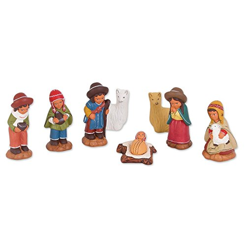 NOVICA Christianity Ceramic Nativity Scene, Multicolor, Andean Birth' (Set of 8)