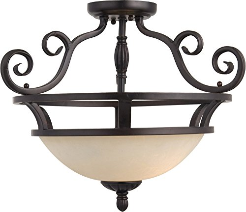 Maxim 12201FIOI Manor 2-Light Semi-Flush Mount, Oil Rubbed Bronze Finish, Frosted Ivory Glass, MB Incandescent Incandescent Bulb , 40W Max., Dry Safety Rating, Standard Dimmable, Linen/Silver Leaf Fa Shade Material, - Leaf Transitional Chandelier Silver