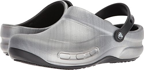 Crocs  Bistro Graphic Clog Shoe, Metallic/Silver, 6 US Men/8 US Women M (Metallic Croc)