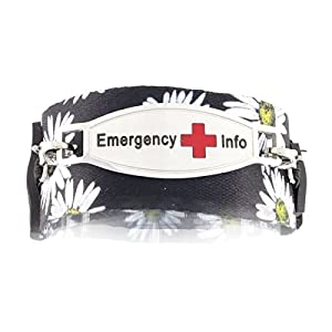 Women's Medical Alert ID Bracelet | Easy On and Off with Hoop-and-Loop Closures | Fits Kids & Teens | Free Engraving Included | Universal