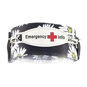 Women's Medical Alert ID Bracelet | Easy On and Off with Hoop-and-Loop Closures | Fits Kids & Teens | Free Engraving Included | Universal