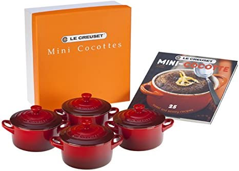 Le Creuset Stoneware Set of 4 Mini Cocottes with Cookbook