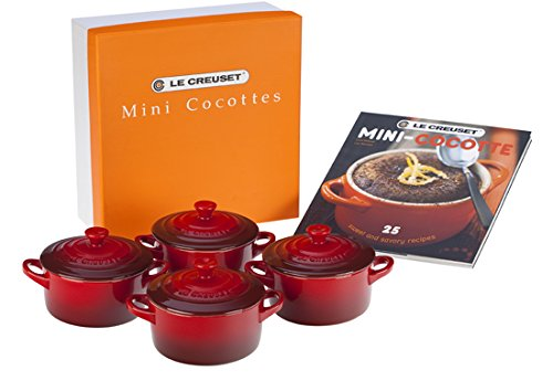 (Le Creuset Set of 4 Mini Cocottes with Cookbook, Cerise (Cherry Red))