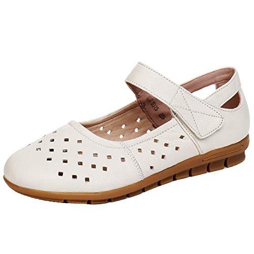 FLYRCX Zapatos Planos Huecos cómodos de la Parte Inferior de Cuero Suaves Zapatos de Trabajo de Las señoras Zapatos Solos creamy-white