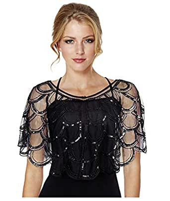 L'VOW Women's 1920s Gatsby Shawl Wraps Beaded Sequin Evening Cape Bolero Flapper Cover Up - Black - One Size