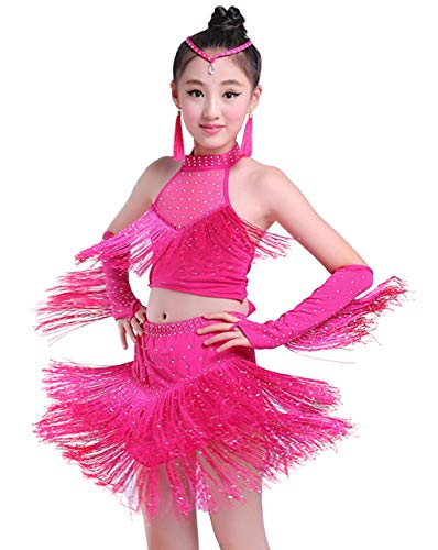 (Happy Cherry Little Girls Shiny Dance Dress Dancing Practice Performance Costumes Latin Salsa Tango Dance Outfits, Rose Red, 8-9Y)