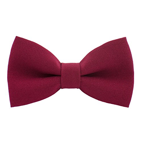(Classic Pre-Tied Bow Tie Formal Solid Tuxedo, by Bow Tie House (Small, Deep Red))