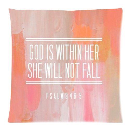 PSALM 465 God is Within Her,She Will not Fall- Bible Verse Pillow Cases Cover 18×18 inch Cushion Case (Two sides)
