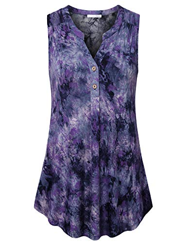 Messic Swing Tank Tops for Women Tie Dyed Summer Tunic Tops for Women Business Tank Shirts Loose Fit Sleeveless Design Flattering Tunics Soft Knit Henley Blouse Blue Purple XXL ()