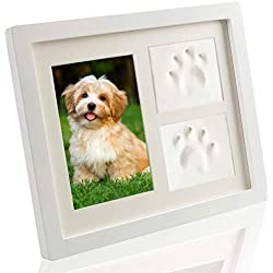 SCIROKKO Pet Memorial Picture Frame - Paw Print Kit with Clay - Pet Keepsakes Kit - Remebrance Decor