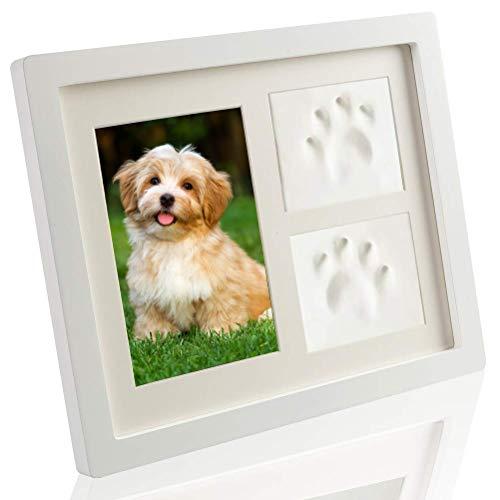 SCIROKKO Pet Memorial Picture Frame - Paw Print Kit with Clay - Pet Keepsakes Kit - Remebrance Decor -