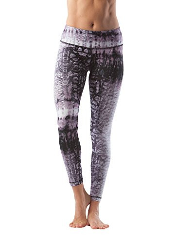 90 Degree By Reflex Performance Activewear - Printed Yoga Leggings - Reptile Muave - Large