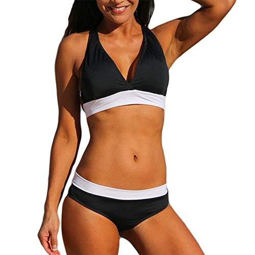 - Century Star Stylish V Neck Halter Bandage Padded Triangle Bikini Swimsuit Bathing Suits for Women Teens Black White X-Large (fits Like US 10-12)