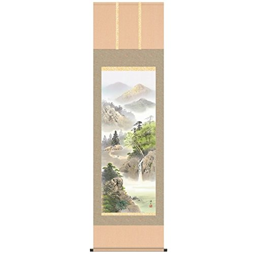 [掛軸][緑風水明]伊藤渓山[尺五][山水画の掛軸][b1-n023]   B01FF12Q4G