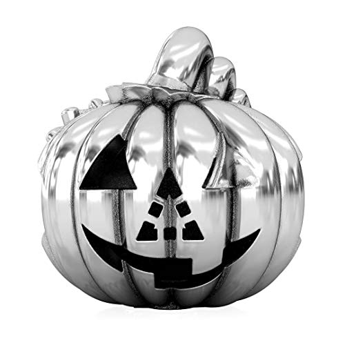 (Authentic BELLA FASCINI Halloween Pumpkin Carving Traditional Jack-O-Lantern Charm Bead - Sterling)