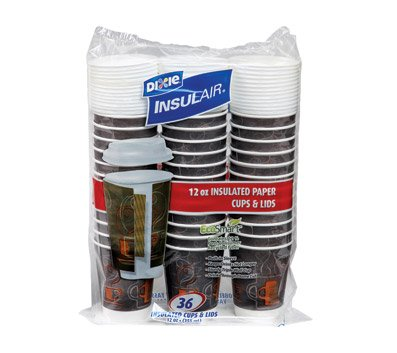 Dixie Insulair EcoSmart Paper Cups & Lids : Hot/Cold 12 oz Cups and Lids, 36 each - Contains 12% Post - comsumer recycled fiber. Built - in sleeve, keeps drinks hot/cold longer, sturdy triple wall cup, drink through dome lid.