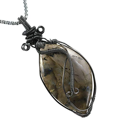 (TUMBEELLUWA Labradorite Necklace Irregular Shape Wire Wrapped Quartz Crystal Pendant with Chain Healing Stone Jewelry,Style 7)