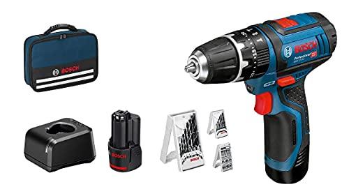 Bosch Professional 12V System Taladro percutor a batería GSB 12V-15 (taladro de madera de Ø máx.: 19 mm, incl. 2x2,0 Ah batería + cargador, 3x juego de taladro, en bolsa) - Amazon Edición
