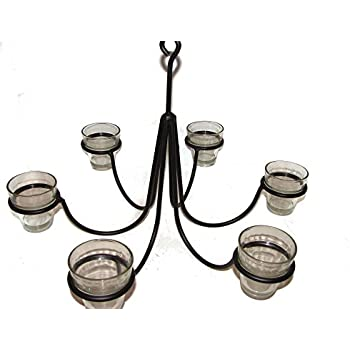 Nice Wrought Iron 6 Arm Votive Candle Chandelier W/ Pots Hand Made