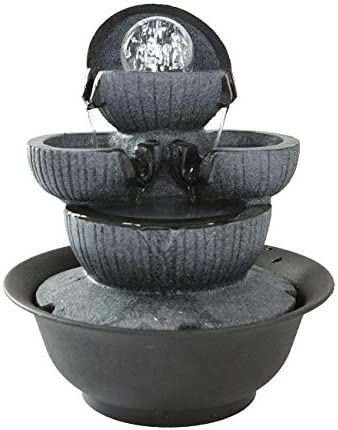 Dyna-Living 1 2 5 H 5-Tier Relaxation Water Fountain with Lights – Cascading Flowing Water Blows Zen LED Lighted Fountain Including Electric Submersible Pump for Office and Home D cor