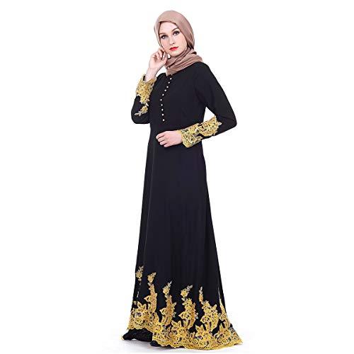 Maxi Nero Lace Muslim Baronhong Islamic Thobe Dress Lady Floral Arab Palace Abaya wTqAqzPI