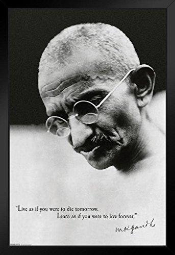 Pyramid America Mahatma Gandhi Live As If You were Die Tomorrow Black Wood Framed Poster 14×20 inch