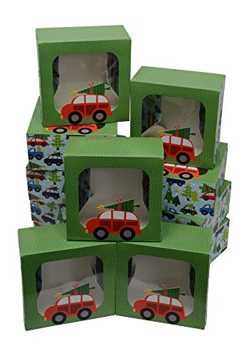 Christmas Cookie gift boxes, fold-able with holiday designs, set of 12 boxes (Tree on the Car) -