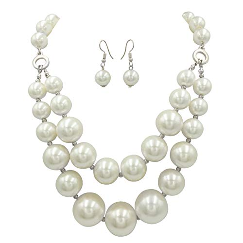 Gypsy Jewels 2 Row Chunky Beads Statement Necklace & Dangle Earrings Set (Imitation Pearl Silver ()