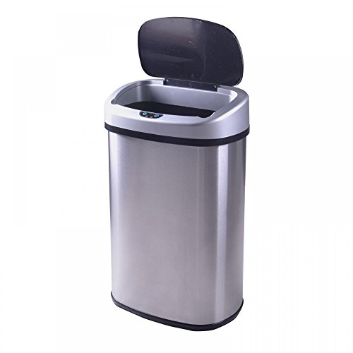 [Touch-Free Sensor Automatic Stainless-Steel Trash Can Kitchen] (Recycle Bin Costume)