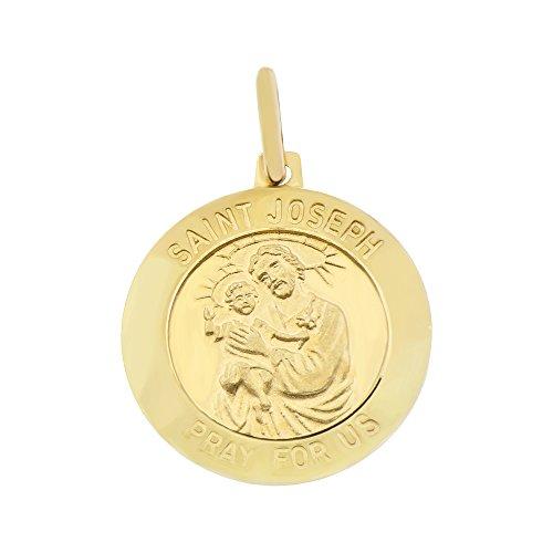 14k Yellow Gold, Small Saint Joseph Medal Religious Pendant Round Charm 12mm ()