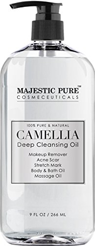 Majestic Pure Camellia Deep Cleansing Oil, Pure & Natural Facial Cleanser, Makeup Remover for Face & Eye - Bath & Body Massage Oil - Reduces the Appearance of Acne Scars and Stretch Marks - 9 fl oz