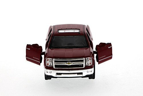 Kinsmart 2014 Chevy Silverado Pick-up Truck, Red 5381D - 1/46 Scale Diecast Model Toy Car Chevy Silverado Pickup Truck
