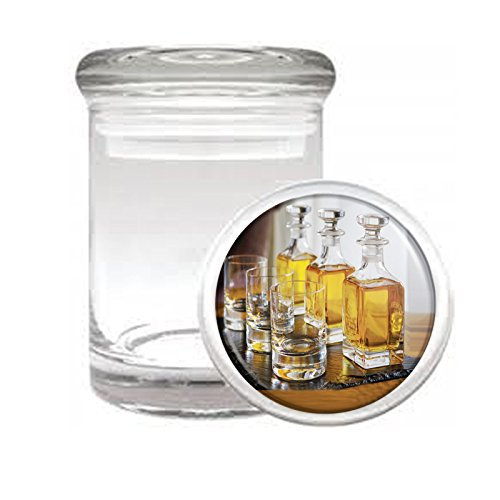 """Medical Glass Stash Jar Whiskey In A Glass S8 Air Tight Lid 3"""" x 2"""" Small Storage Herbs & Spices"""