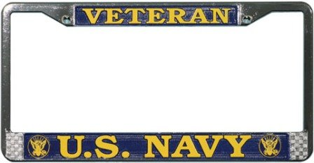 United States Navy veteran metal license plate frame