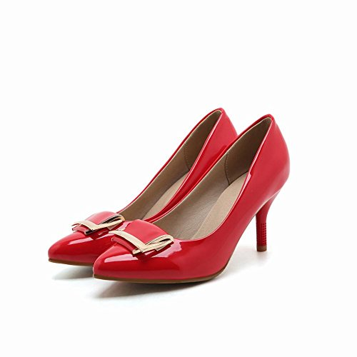 High Pointed Carolbar Patent Pumps Womens Shoes Toe Heels Red Leather ZZqCgXxw