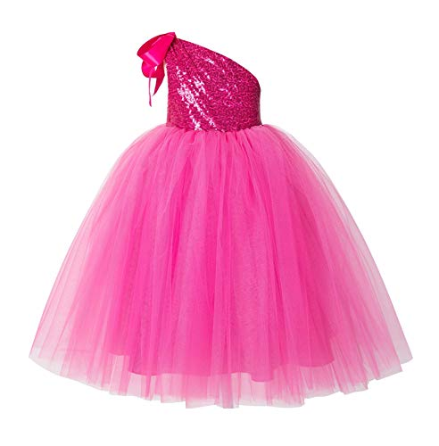 ekidsbridal One-Shoulder Sequin Tutu Flower Girl Dress Wedding Pageant Dresses Ball Gown Tutu Dresses 182 2 Fuchsia