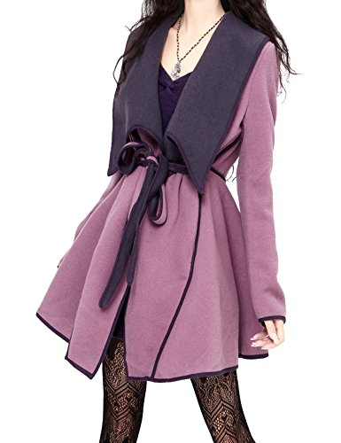 (Artka Women's Double-Sided Belted Purple Wool Blend Coat)