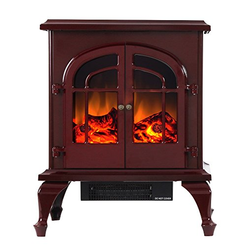 Valuxhome Burbank 24 inch 750W/1500W, Portable Free Standing Electric Fireplace Heater, Red For Sale