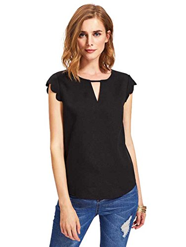 (MAKEMECHIC Women's Casual Plain Scallop Cutout Cap Sleeve Blouse Top Black M)