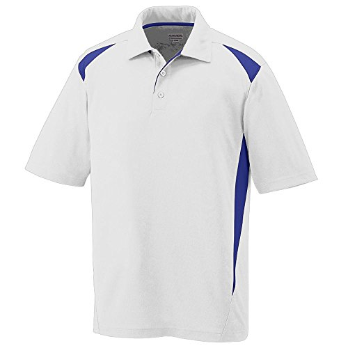 Athletic Pique Sport Shirt - Augusta Sportswear Augusta Premier Polo, White/Purple, Medium