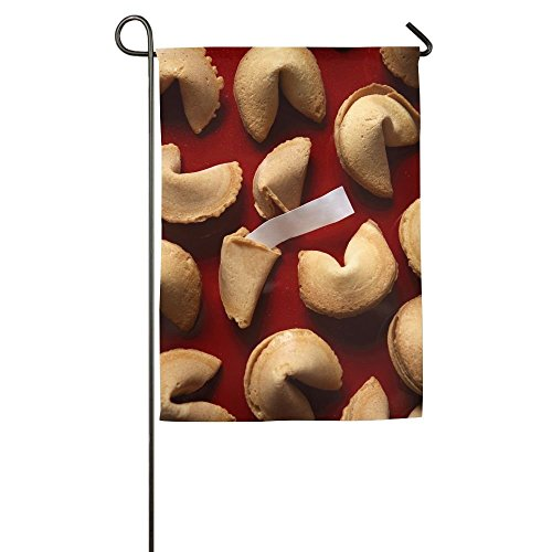 Davis Relev 12 x 18 inch Fortune Cookies On Red Background with White Blank Paper Family Garden House Home Demonstration Decorative Flag