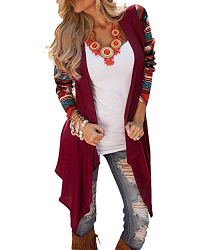 womens-striped-open-front-long-sleeve-knit-cardigan-outwear-coat-sweater-m-burgundy