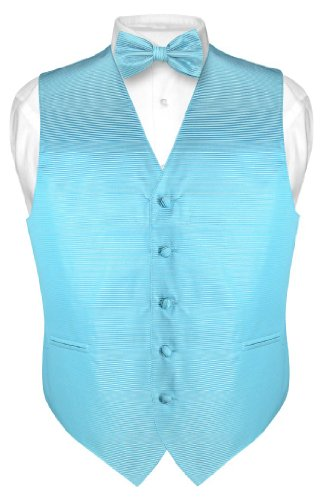(Men's Dress Vest & BOWTie Turquoise Aqua Blue BOW Tie Horizontal Stripe sz S)