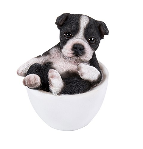 Terrier Figurine (Pacific Giftware Boston Terrier Adorable Mini Teacup Pet Pals Puppy Collectible Figurine 3.25 Inches)