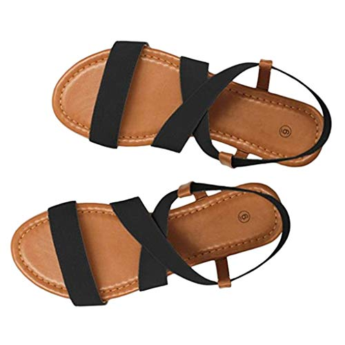 Huizhuangshigong Women Low Heel Anti Skidding Beach Shoes Cross Strap Sandals Peep-toe Sandals