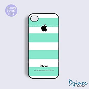 iPhone 5 5s Case - Mint Green White Stripes iPhone Cover