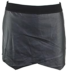 Kensie Womens Juniors Faux Leather Asymmetrical Skort Black S