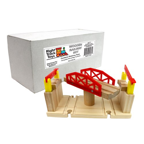 Train Track Piece - Rotating Track - 100% Compatible with All Major Brands including Thomas Wooden Railway System - By Right Track Toys